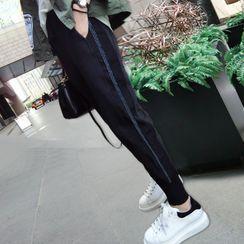 Luna Rouge - Cropped Contrast Striped Sweatpants