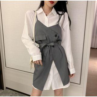 Yako - Plain Shirt Dress / Strappy Dress
