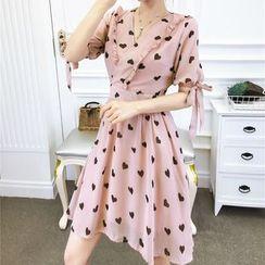Jangmi - Heart Short-Sleeve A-Line Chiffon Dress