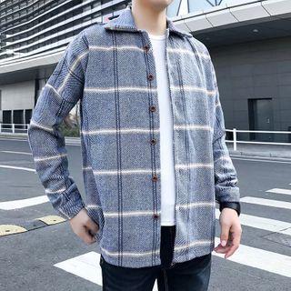 DuckleBeam - Long-Sleeved Plaid Plus Velvet Shirt