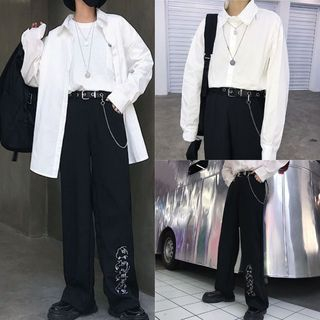 Magma - Plain Shirt / Face Embroidered Wide Leg Pants / Metal Grommet Belt with Chain