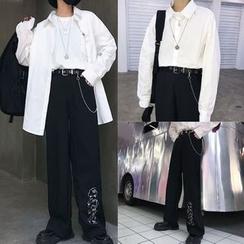 Magma - 纯色衬衫 / 阔脚裤 / 腰带