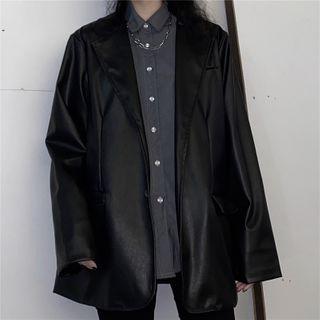 LINSI - 单排扣仿皮西装外套