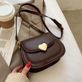 Beebird - Faux Leather Heart Buckled Crossbody Bag