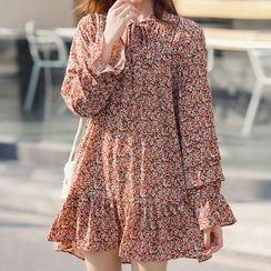 Jizoo - 印花长袖迷你直身连衣裙