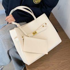 Skyglow - 套装:纯色仿皮手提包 + 拉链小袋