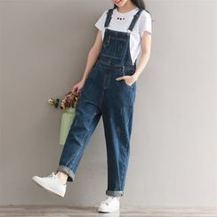 Fancy Show - Distressed Straight-Leg Suspender Jeans