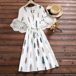 Fancy Show - Short-Sleeve Printed Dress