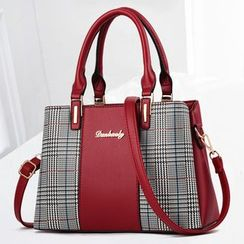 Santaka - Plaid Panel Faux Leather Hand Bag