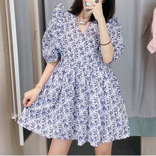 Zazadoll - Flower Print Short-Sleeve Mini Shift Dress
