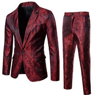 Peibo - Set: Single Button Blazer + Dress Pants