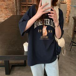 Maisee - Short-Sleeve Cat Print T-Shirt