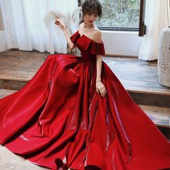 Sennyo - Off-Shoulder Ruffled A-Line Evening Gown