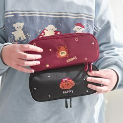 Class 302 - Animal Embroidered Oxford Pencil Case