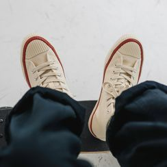COOLAGE - 配色边帆布高帮休閒鞋