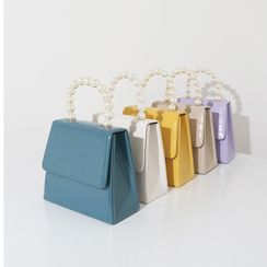 Mimosa - Faux Pearl Faux Leather Handbag