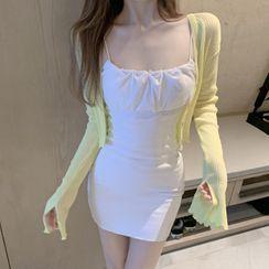 GANGER - 纯色窄身迷你连衣裙/纯色条纹开衩开衫