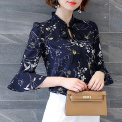 In the Mood - Floral Print Bow Elbow-Sleeve Chiffon Blouse