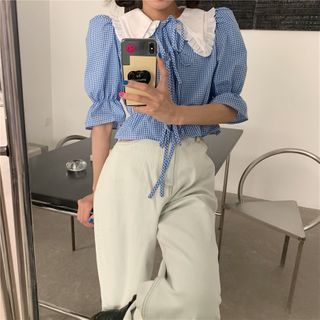 Tyssensuals - Puff-Sleeve Gingham Blouse