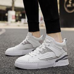 Auxen - Platform Lace Up Lettering Sneakers