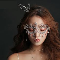 Night Bride - Rhinestone Face Mask / Headband