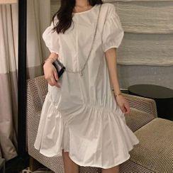 Fruit Kiss - Plain Puff-Sleeve Dress