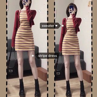 Horis(ホリス) - Cropped Cardigan / Striped Mini Dress