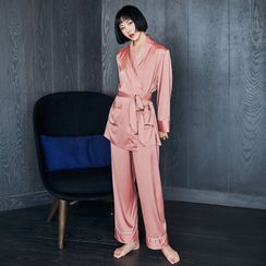 Cinni - Pajama Set: Embroidered Tie-Waist Top + Pants