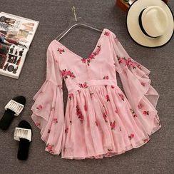 Yanja - Bell-Sleeve Floral Mini Chiffon Dress