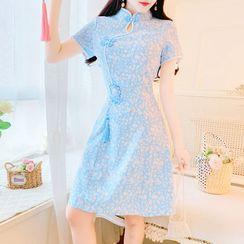 Petit Lace - Short-Sleeve Floral Lace A-Line Dress