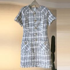 Shanniah - Short-Sleeve Mini Tweed Dress