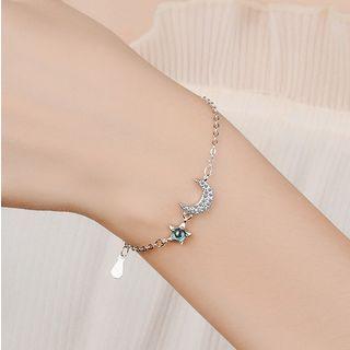 Knick Knack - Sterling Silver Rhinestone Moon & Star Bracelet