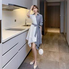 Glaypio - 中袖双色腰结带A字衬衫连衣裙