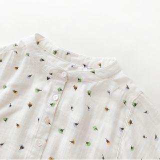 Mori Girls - Floral Print Mandarin Collar 3/4-Sleeve Shirt