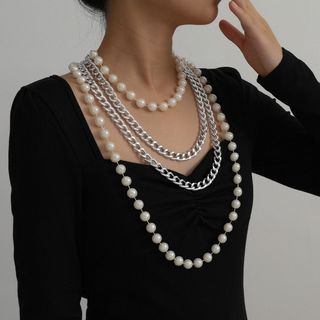Seirios - Faux Pearl Chunky Chain Layered Necklace