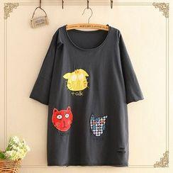 Kawaii Fairyland - Cat-Patch Short-Sleeve Top