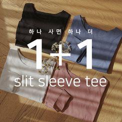JUSTONE - Set of 2: Slit-Cuff Round-Hem T-Shirt