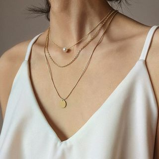 Vonluxe - Faux Pearl Alloy Disc Pendant Layered Choker Necklace
