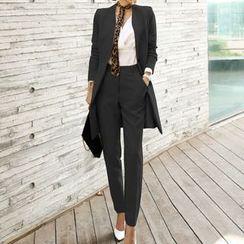 Lewwe - Set: Belted Button-Up Coat + Slim-Fit Dress Pants