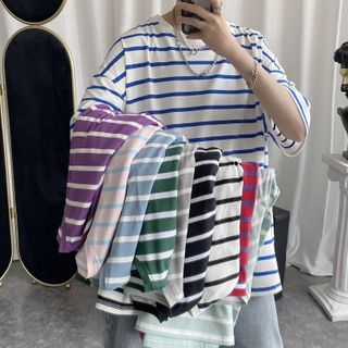 JUN.LEE - Striped Elbow-Sleeve T-Shirt
