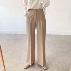 Seoul Fashion - Flat-Front Straight-Cut Pants