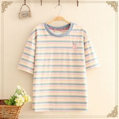 Kawaii Fairyland - Peach Embroidered Striped Short-Sleeve Tee