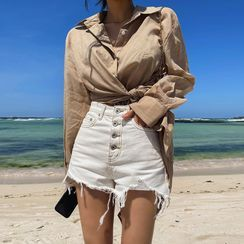 LIPHOP - Button-Fly Distressed Denim Shorts