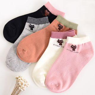 YiFFi - 五对套: 猫咪插色短袜