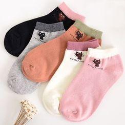 YiFFi - 五對套: 貓咪插色短襪