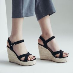Shoes Galore - Wedge-Heel Strappy Sandals
