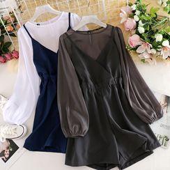Corail - 套裝:雪紡上衣 + 無袖連體衣