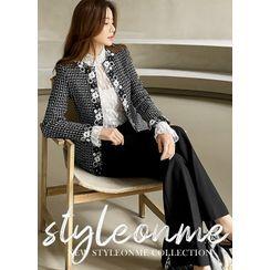 Styleonme - Lace-Trim Tweed Jacket
