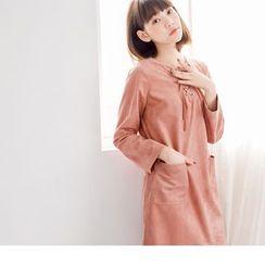 OrangeBear - Faux Suede Lace Up A-Line Dress