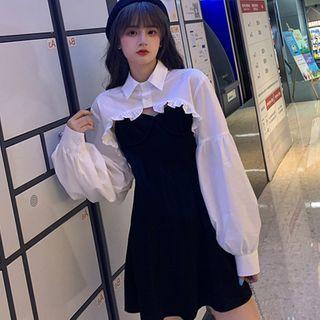 Apotheosis - Set: Long-Sleeve Shirt + Spaghetti Strap Mini A-Line Dress